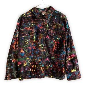 3/$20 Chico's Rainbow Splatter Print Button Down
